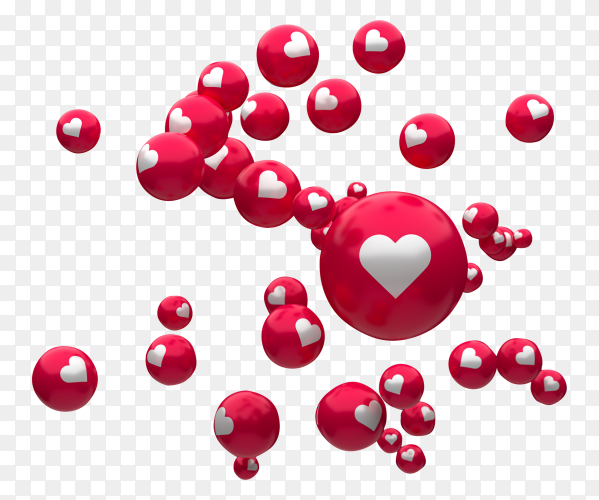Facebook reactions emoji 3d render balloon symbol with heart PNG