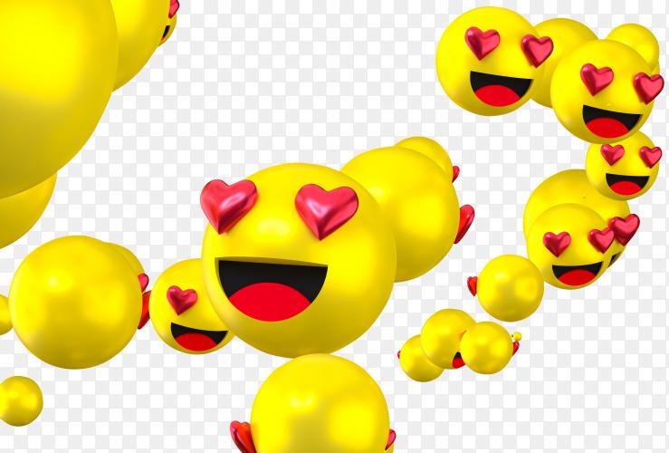 Facebook reactions love emoji 3d render transparent background PNG