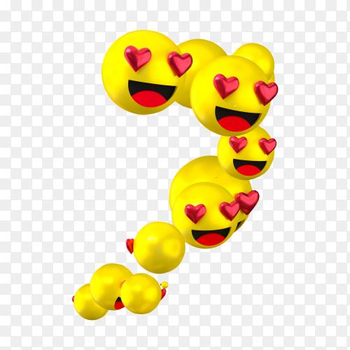 Facebook reactions love emoji transparent background PNG