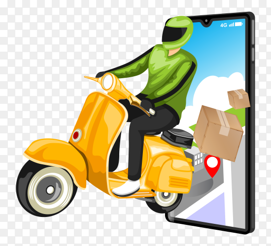 Fast delivery by scooter concept transparent PNG