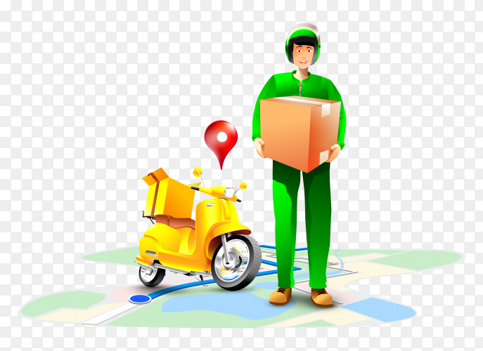Fast delivery package by scooter illustration PNG