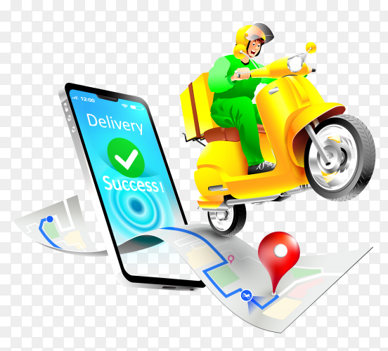 Fast delivery package by scooter mobile phone order vector PNG
