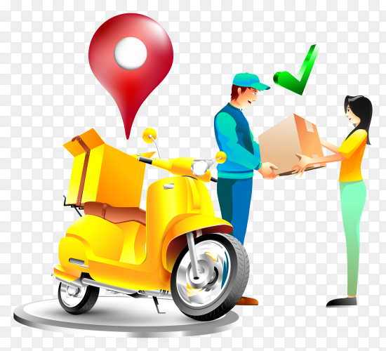 Fast delivery package with motorcycle illustration transparent PNG
