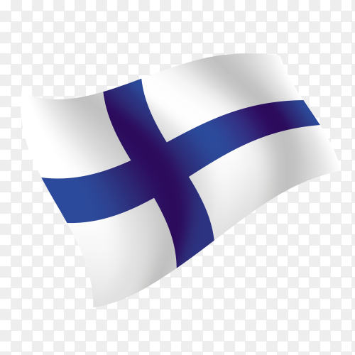 Finland flag waving vector on transparent background PNG