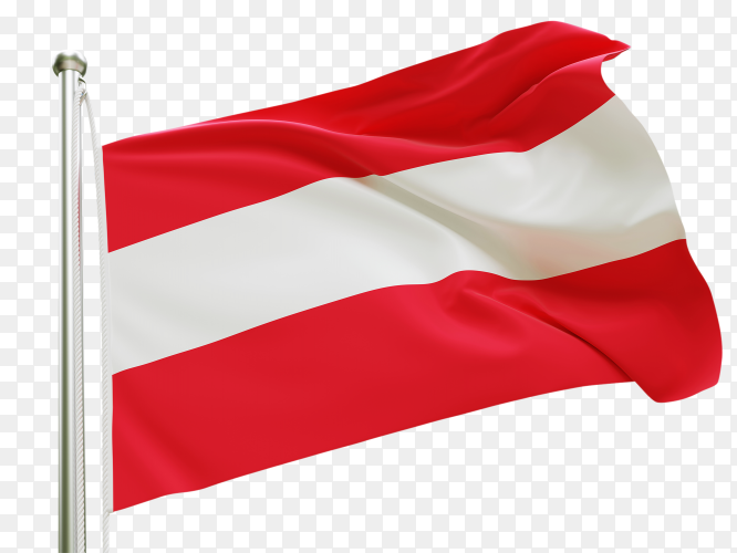 Flag Austria waving on transparent background PNG