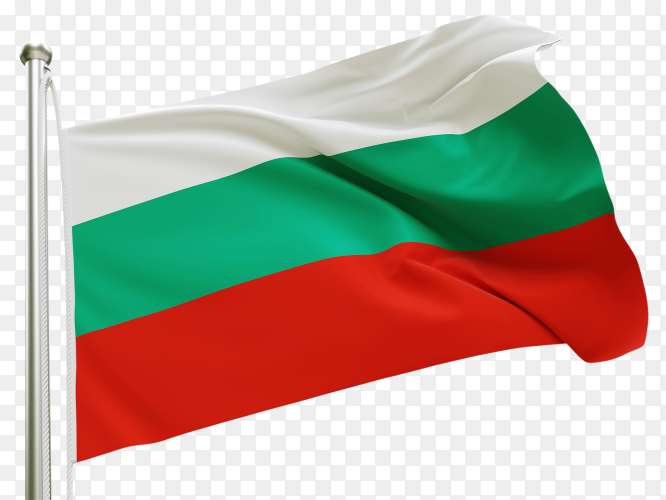 Flag Bulgaria waving on transparent background PNG