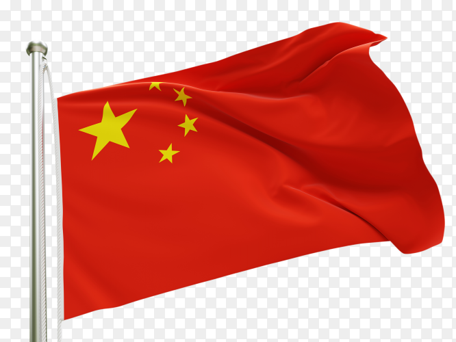 Flag China waving on transparent background PNG