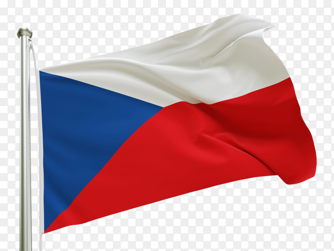 Flag Czech Republic waving on transparent background PNG