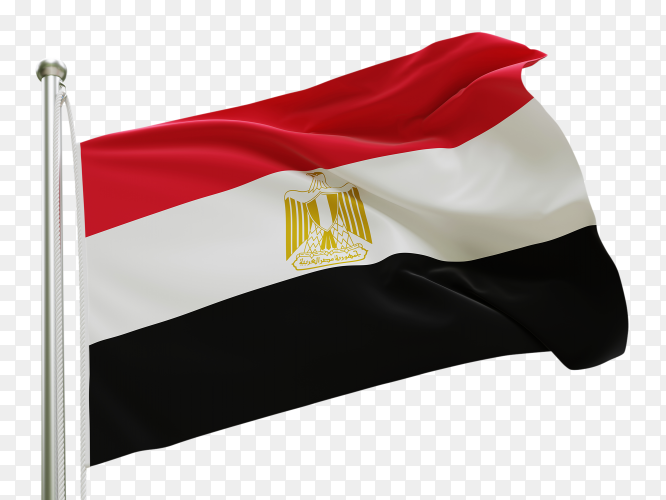 Flag Egypt waving on transparent background PNG