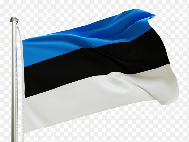 Flag Estonia waving on transparent background PNG