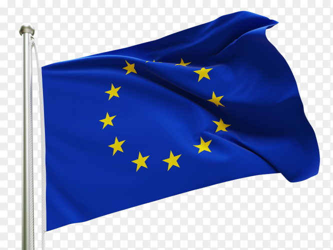 Flag Europe waving on transparent background PNG