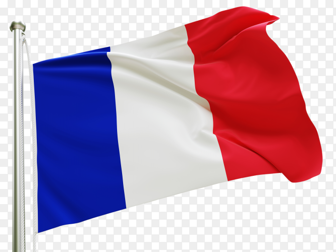 Flag France waving on transparent background PNG