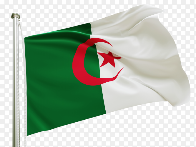 Flag algeria waving on transparent background PNG