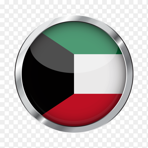 Flag kuwait in silver circle transparent PNG