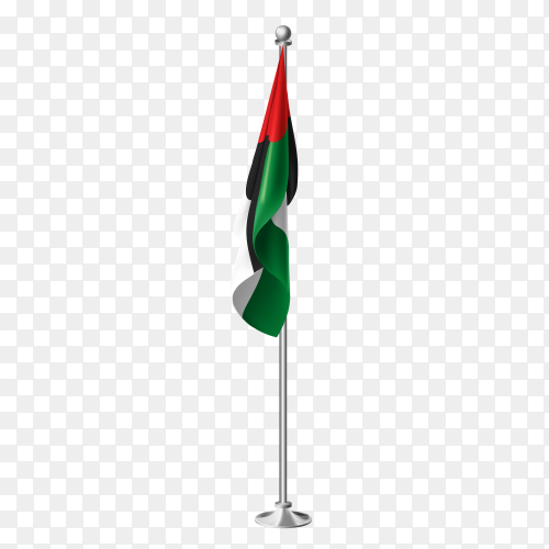 Flag of united arab emirates on steel poles vector PNG