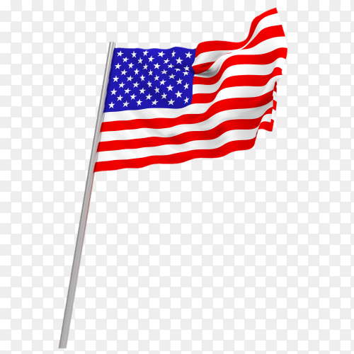 Flowing american flag transparent PNG