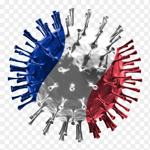 France flag Shaped covid-19 virus transparent PNG