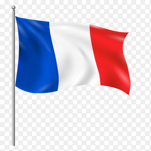 France flag waving vector on transparent background PNG