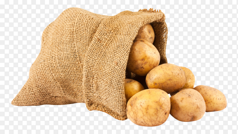 Fresh and raw potatoes in a rustic sack transparent PNG