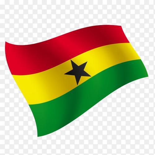 Ghana flag waving vector on transparent background PNG
