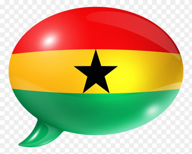 Ghanaian flag – Ghana flag shaped speech bubble transparent PNG
