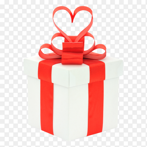 Gift box, bow and heart royalty free PNG