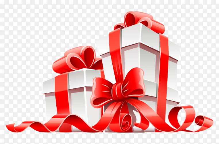 Gift box with a red bow transparent PNG