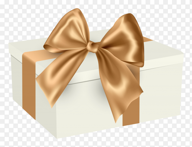 Gift box with beige ribbon royalty free PNG