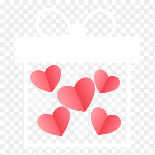 Gift box with hearts for valentine's day transparent PNG