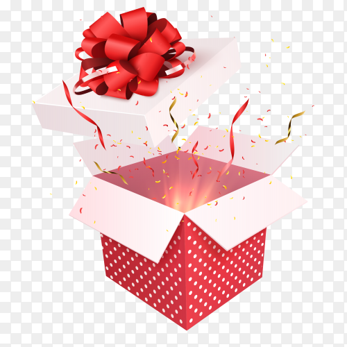 Gift box with red ribbon bow transparent PNG