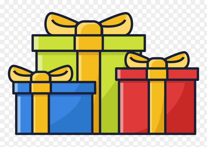 Gift boxes illustration transparent PNG