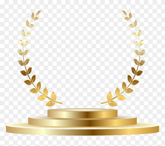 Gold badge rewards with podium on transparent background PNG