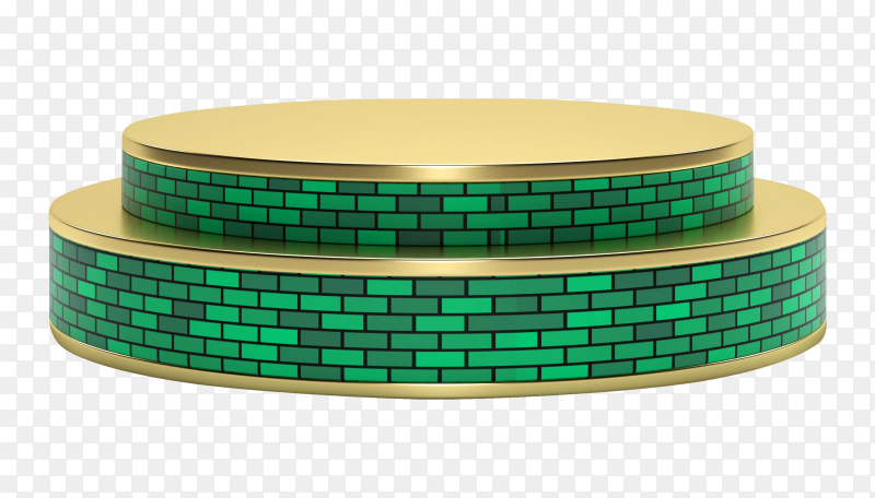 Golden-green stage podium for product presentation on transparent background PNG