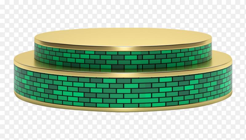 Golden-green stage podium for product presentation on transparent background PNG