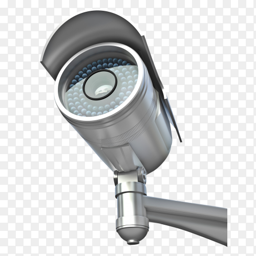 Gray CCTV security camera transparent PNG