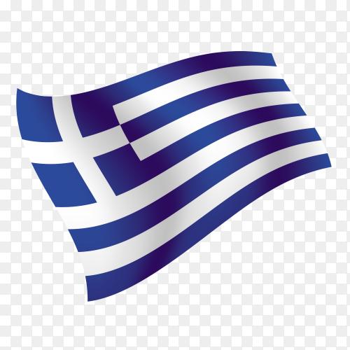 Greece flag waving vector on transparent background PNG