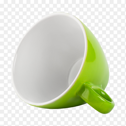 Green cup lying sideways transparent background PNG