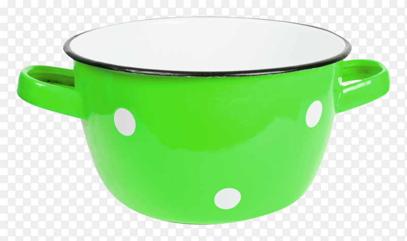 Green saucepan with white spots vintage premium PNG