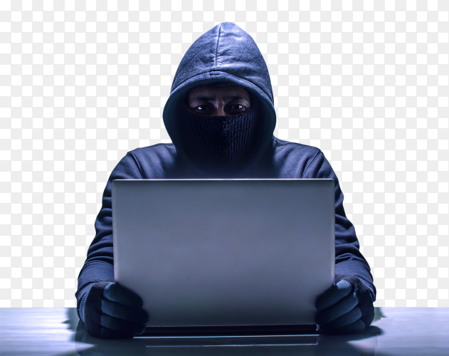 Hacker using laptop on transparent background PNG