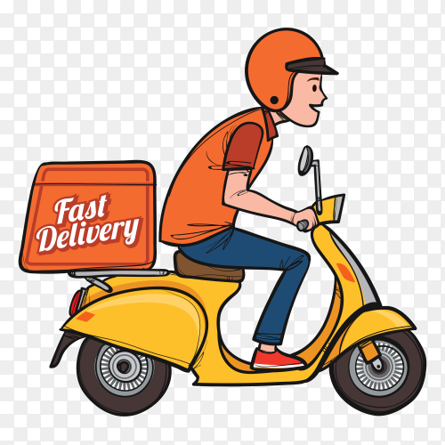 Hand drawn delivery man with scooter royalty free PNG