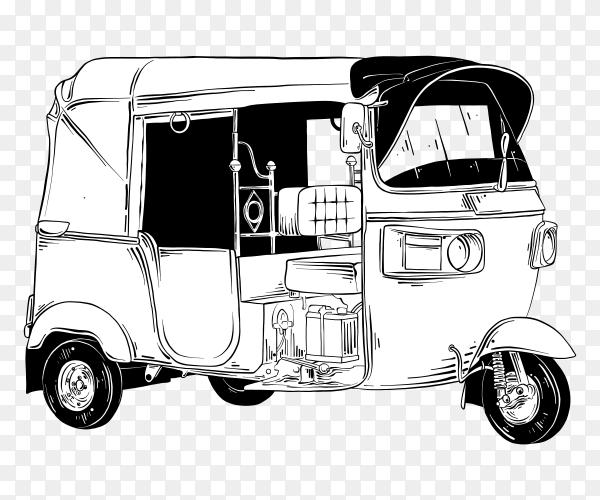 Hand drawn sketch tuk tuk clipart PNG