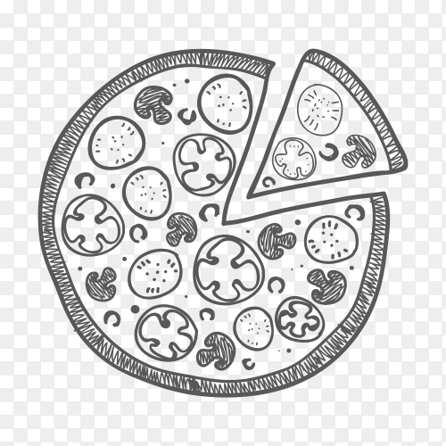 Hand drawn sketched illustration pizza clipart PNG