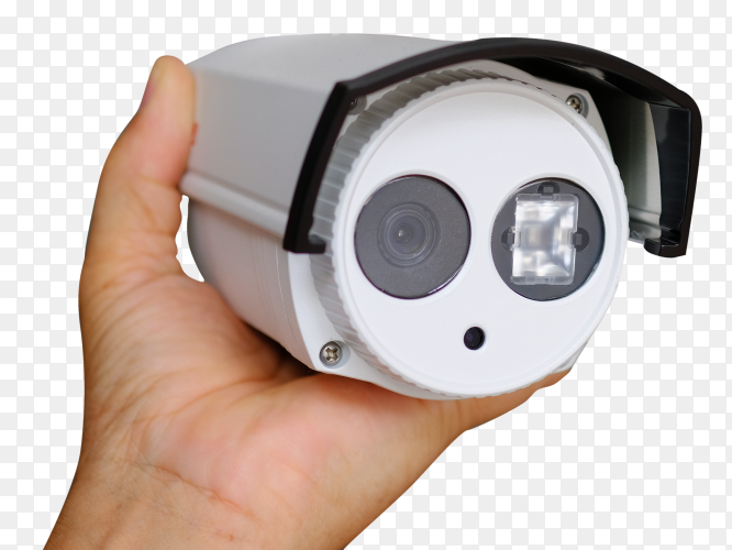Hand holding security camera transparent PNG