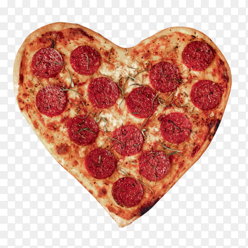 Heart pizza with mozzarella – transparent PNG