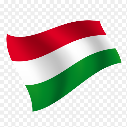 Hungary flag waving vector on transparent background PNG