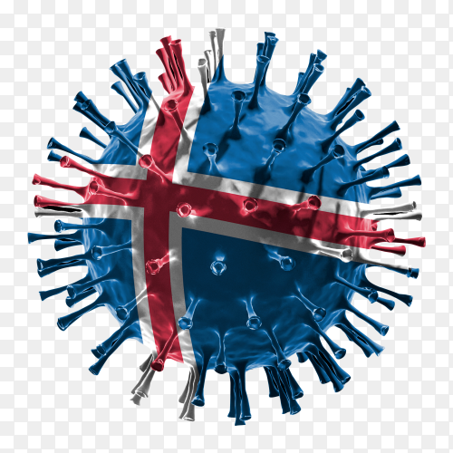 Iceland flag Shaped covid-19 virus transparent PNG
