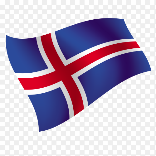 Iceland flag waving vector on transparent background PNG