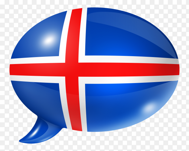 Icelandic flag – Iceland flag shaped speech bubble transparent PNG