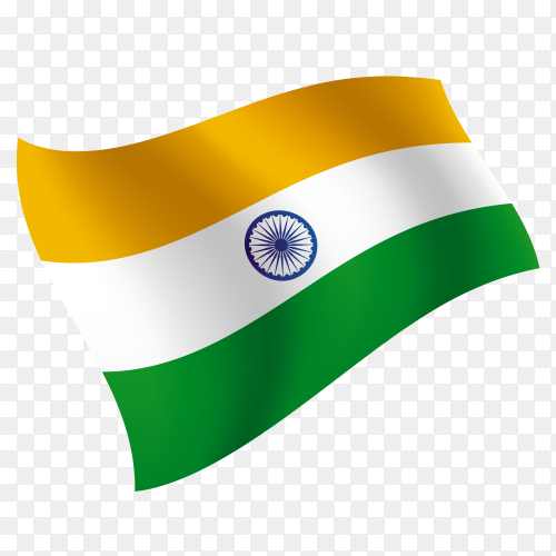 India flag waving vector on transparent background PNG