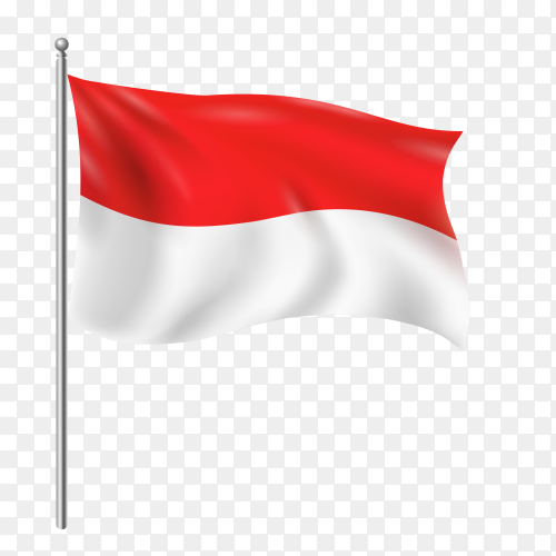 Indonesia flag waving vector on transparent background PNG